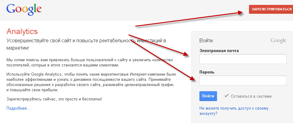 Регистрация  Google Analytics